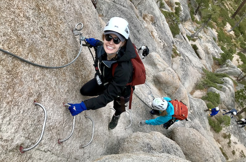 Smiling climbers on the Tahoe Via Ferrata