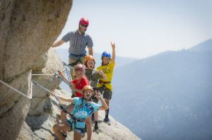 Kids and their guide enjoying a fun day on the Tahoe Via Ferrata