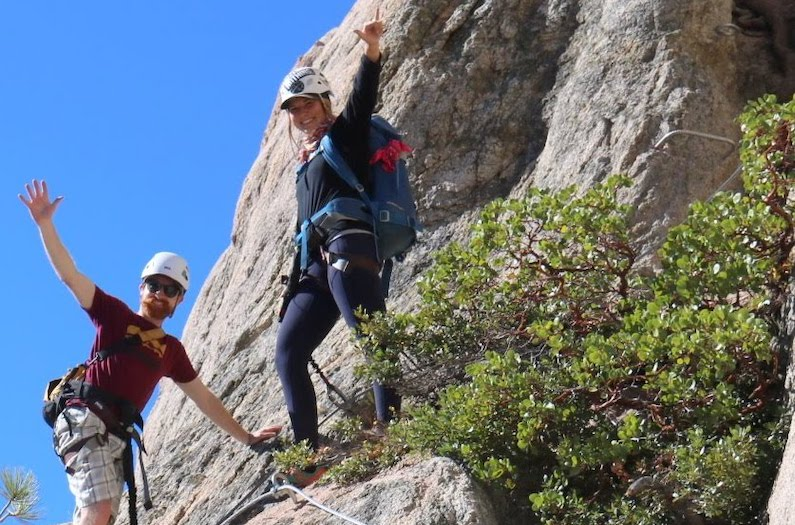 Climbers enjoying the must do activity in Lake Tahoe, the Via Ferrata